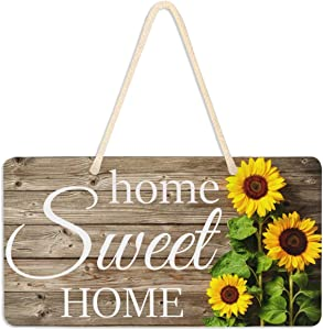 Emelivor Sunflower Sign Front Porch Decor Hanging Wood Grain Home Sweet Home Welcome Sign Wall Pediment Sunflower Decorations for Home Kitchen Rustic Plaque