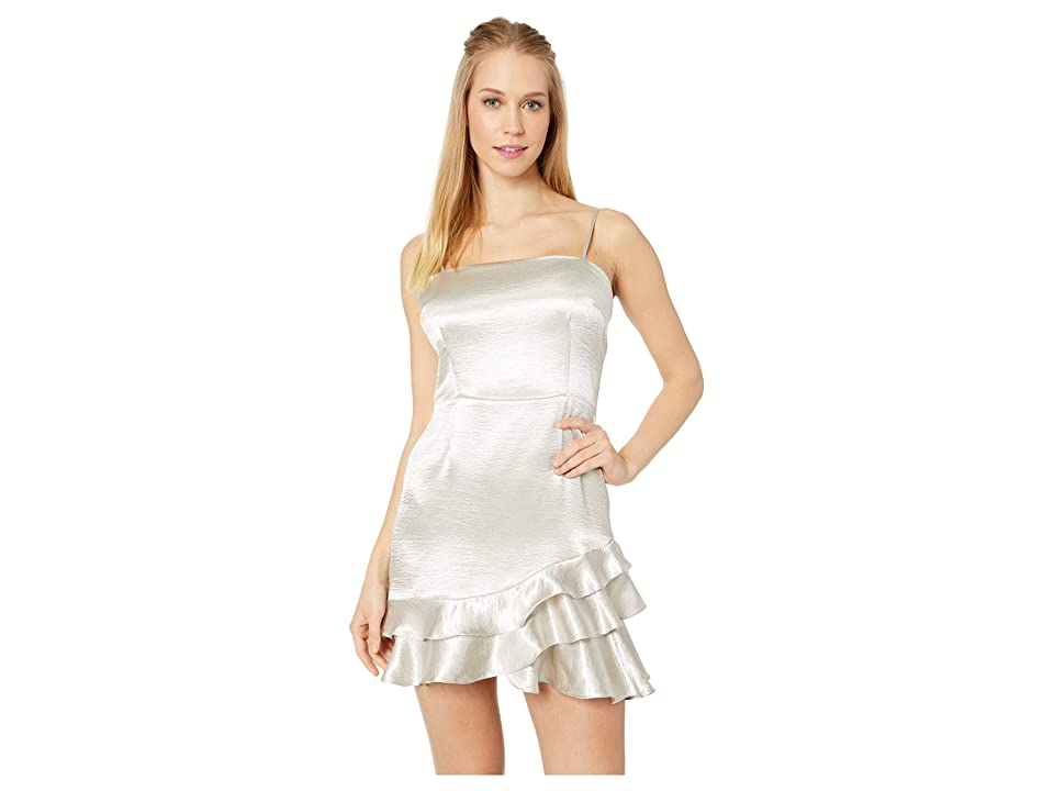 BB Dakota Flawless Metallic Ruffle Dress (Silver) Women