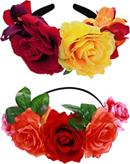 Syhood 2 Pieces Mexican Headband Day of The Dead Headband Flower Crown Costume Headpiece for Women Girls