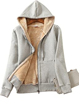 Yeokou Women's Casual Winter Warm Sherpa Lined Zip Up Hooded Sweatshirt Jacket Coat