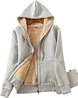 معطف سترة بغطاء رأس وسحاب مبطن بجلد الشيربا، مناسب للارتداء في فصل الشتاء من Yeokou
