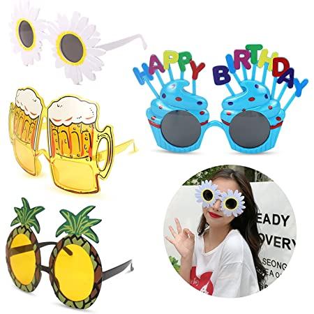 leyun 4 Pairs Novelty Party Glasses, Funny Eye Glasses, Beach Party Sunglasses, Hawaiian Sunglasses, Tropical Sunglasses, Fancy Dress Party Photo Prop Party Supplies for Childen Adults