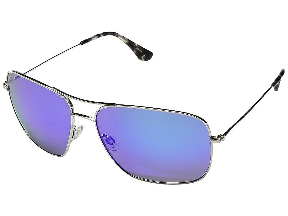 Maui Jim Cook Pines (Silver/Blue Hawaii) Athletic Performance Sport Sunglasses