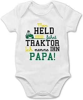 Shirtracer Sprüche Baby - Mein Held fährt Traktor - Baby Body Kurzarm für Jungen und Mädchen