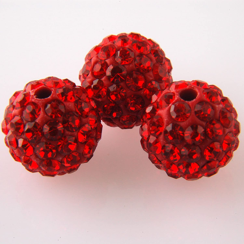 Shamballa 10mm beads Siam rot - 3 Pack B00EYM6AYU | Zu verkaufen