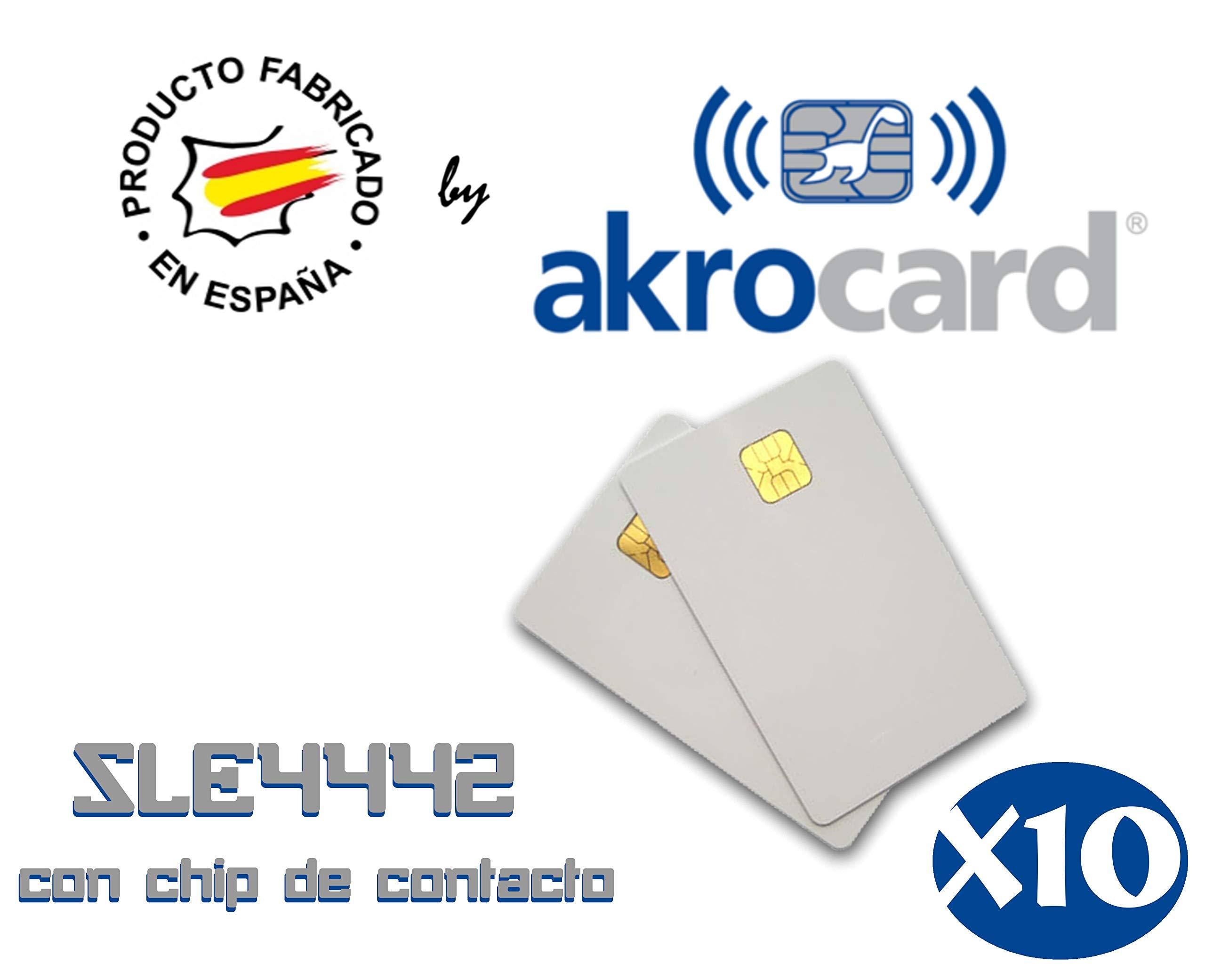 Pack 10 - Tarjeta pvc BLANCA con chip de contacto memoria SLE4442 ...