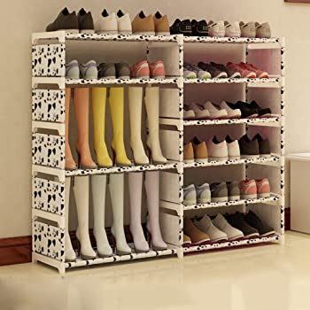 Organizador De Calzado Alto De Acero Inoxidable Plegable Organizador De La Caja De Zapatos Soporte De Almacenamiento 6 Tier Holder para Botas Shoes120 * 85 * 30cm (Color : Blanco): Amazon.es: Hogar