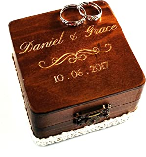 Awerise Personalized Wooden Square Ring Bearer Box, Rustic Ring Box Engagement Ring Box,Custom Engraved Ring Box