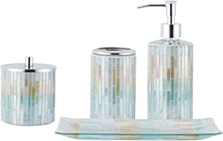 Whole Housewares Bathroom Accessories Set, 4-Piece Glass Mosaic Bath Accessory Completes with Lotion Dispenser/Soap Pump, Cotton Jar, Vanity Tray, Toothbrush Holder (Blue Multi)