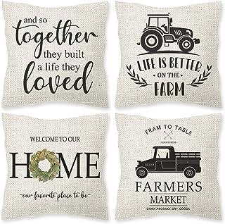 ORTIGIA 4pcs Farmhouse Throw Pillow Covers,18x18inches Linen Truck Pillowcase for Rustic Country Decorative Home Sofa Bedroom Car Decor Housewarming Gift