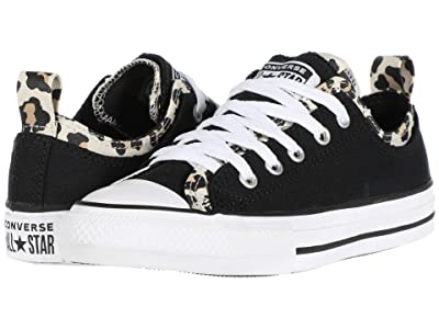 Converse Kids Chuck Taylor(r) All Star(r) Double Upper Leopard Print (Little Kid/Big Kid) (Black/Driftwood/White) Girl