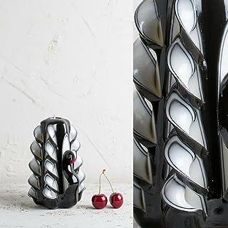 Piccola Bianca e Nera - In Stile Cigno - Candela Ornamentale Decorata a Mano - EveCandles