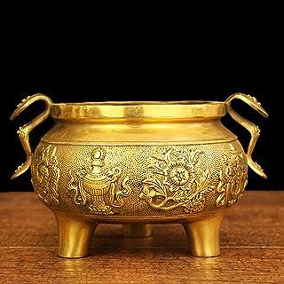 YOPDNE Quemador de Incienso de Cobre Puro, Ocho Estufas de Tesoros, Ocho Estufas auspiciosas, Estufa Guanyin, Quemador de Incienso, Templo Budista y ambición.