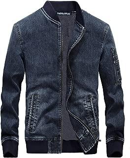 Men's Zip-Front Denim Jacket Classic Trucker Jean Jacket