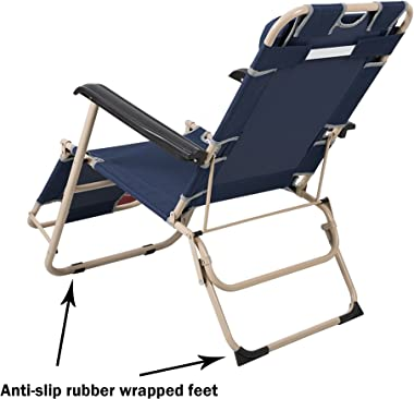 """Lucky Tree 4 Pack Portable Chaise Lounge Chair Flat Folding Outdoor Recliner Chair for Camping Beach Pool, 60""""(L) x19(W)"""