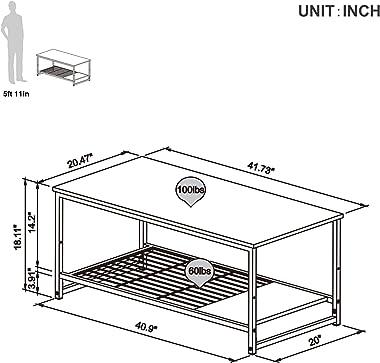 "Bestier 42""End Table Sets 2 in 1 Modern Coffee Nesting Tables Occasional Set w Adjustable Storage Shelf, Hook, Sofa Side Tabl"
