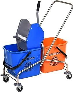 Chariot de lavage chariot de nettoyage professionnel en acier presse à mâchoire 2 seaux 26 L plastique bleu orange