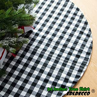 EDLDECCO 54 Inches Christmas Tree Skirt Black and White Plaid Buffalo Check Double Layers Handicraft Xmas Decoration Holiday Ornaments