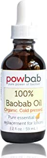 powbab 100% Baobab Oil Cold Pressed, Raw Organic Body Oil for Skin, Hair and Nail Repair. Pure Vitamin E Oil for Scars fro...