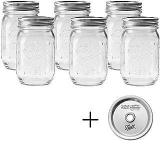 BALL 【ボール】Mason Jar メイソンジャー 16oz レギュラーマウス ガラス保存瓶 (480ml) 6本セット
