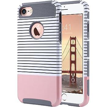 ULAK iPhone 7 Hülle, [Bunte Serie] Stylische Marmor Muster Schutzhülle Dual Layer Hybrid Handyhülle Dünn Case Cover für iPhone 7 [4,7 Zoll] - Roségold Streifen