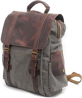 MaiJin Unisex Vintage Genuine Leather Canvas Backpack (Grey)