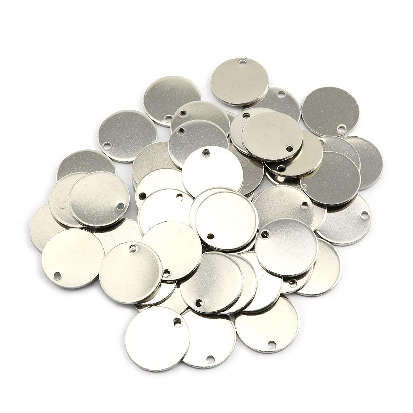 Partstock 50PCS Stainless Steel Flat Round Pendant Stamping Tag Pendants Accessories for Earrings Bracelets DIY Jewelry Making 15mm
