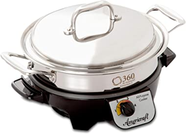 360 Stainless Steel Slow Cooker, 2.3 Quart Saute Pan is Induction Cookware, Waterless Cookware, Dishwasher Safe, Oven Safe, S