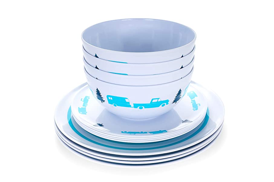 Camco Teal Life is Better at The Campsite 12 Piece Dishware Set-Blue Retro Trailer and Logo Design, Includes Plates and Bowls, Perfect for RVing and Camping, Melamine (53296)