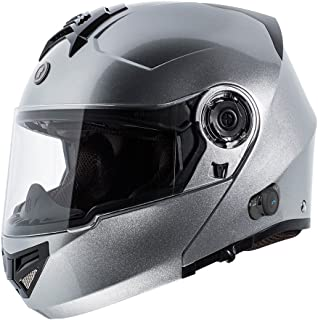 TORC T27B1 SL XL Silver T27 Full Face Modular Helmet with Integrated Blinc Bluetooth, X-Large