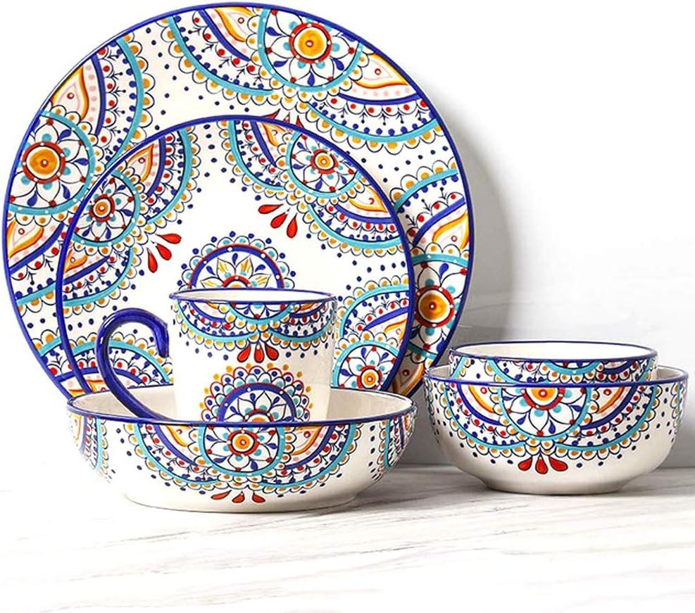 ZXH 18 Piece Dinnerware Set Flower Max 88% OFF Plant Sale P Porcelain