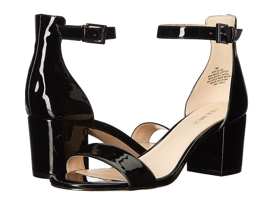 b25b011b366 Nine West Fields Block Heel Sandal (Black Patent) Women