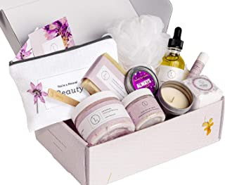Spa Gift Set, Handmade Lavender Gift Box, Relaxing 9 pcs Package for Women, Including Soap Bar, Facial Mask, Shower Streamer, Body Oil, Lip Balm, Cosmetic Bag, Soy Candle & Sponge by Lizush