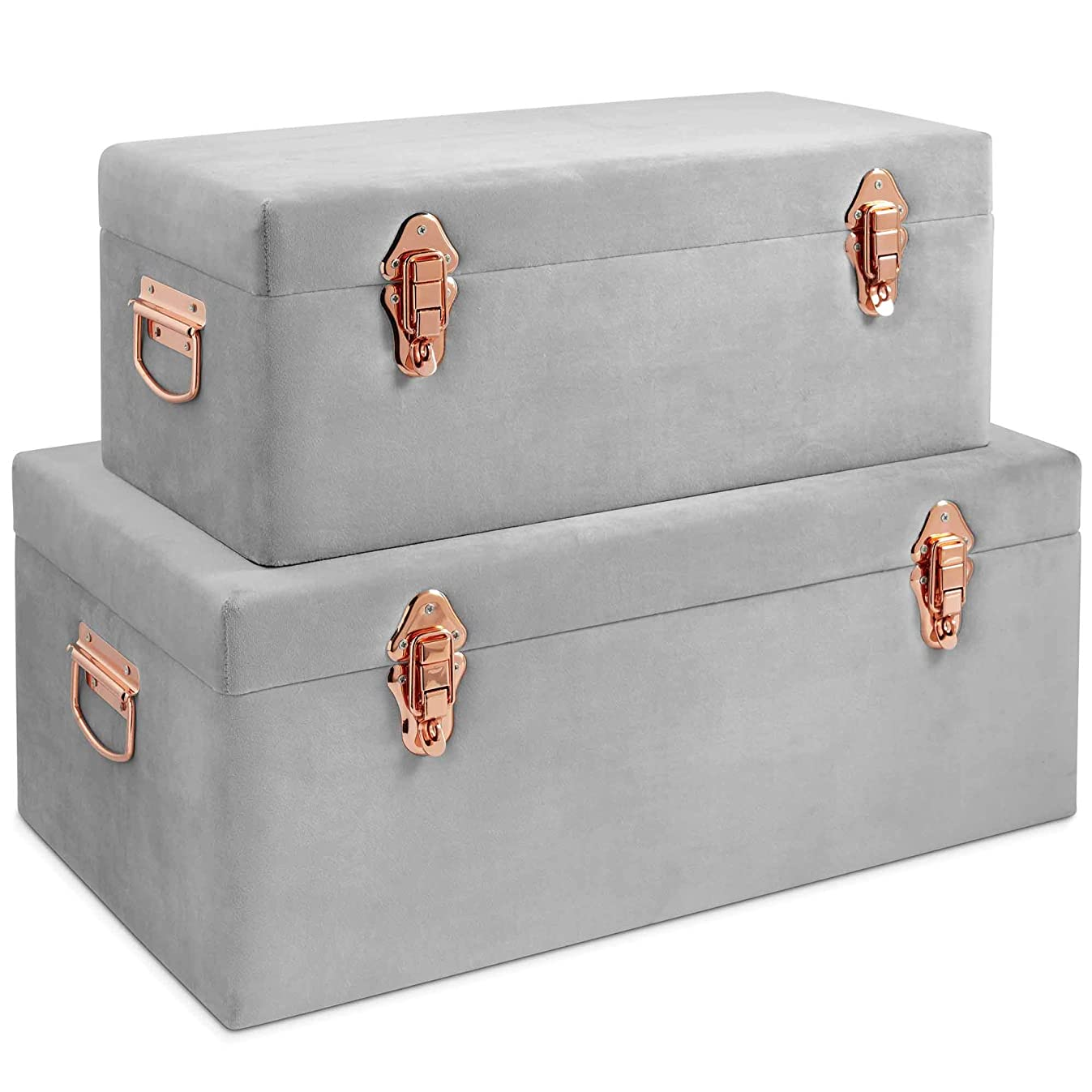 Beautify Gray Velvet Decorative Storage Trunk Set with Rose Gold Clasps - College Dorm and Bedroom Footlocker Trunks