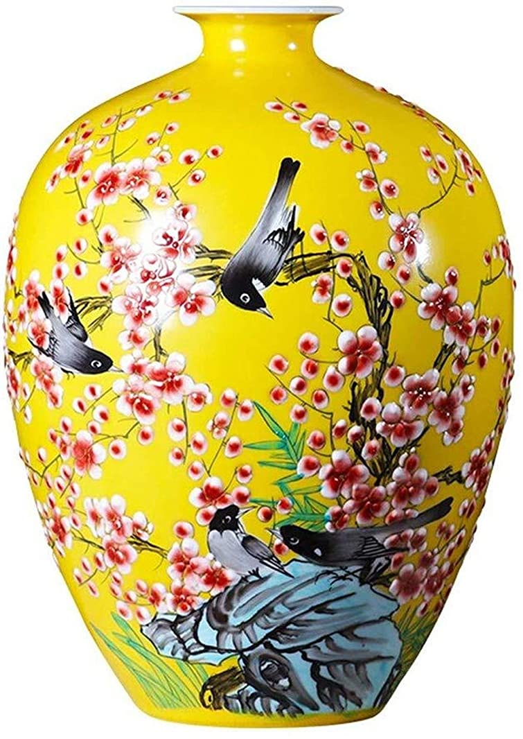 うまくいけば慢なに対してPusaman 中国の家族のリビングルームの装飾、黄色の手描きの磁器、工芸品セラミック花瓶、花の装飾ボトル