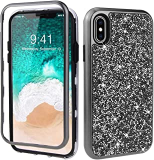 XapaCase for iPhone Xs [5.8-inch] 3in1 3D Luxury Crystal Rhinestone Protective Case (Black)