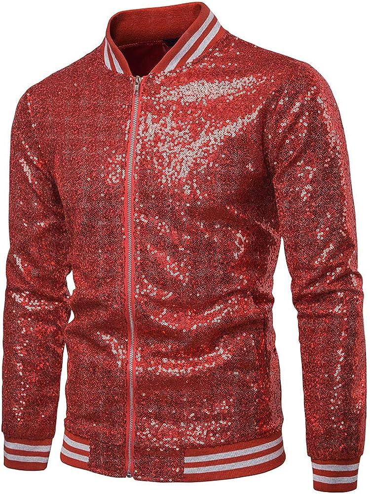 Men's Sequin Jacket Coat Metallic Nightclub Long Sleeve Zipper Bomber Jacket