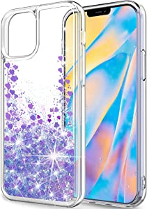SunRemex Compatible with iPhone 12 Case Glitter Clear,iPhone 12 Pro Case Glitter Clear,iPhone 12/12 Pro 5G Case for Women with Moving Shiny Quicksand for iPhone 12/12 Pro 5G (6.1 inch) (Light Purple)