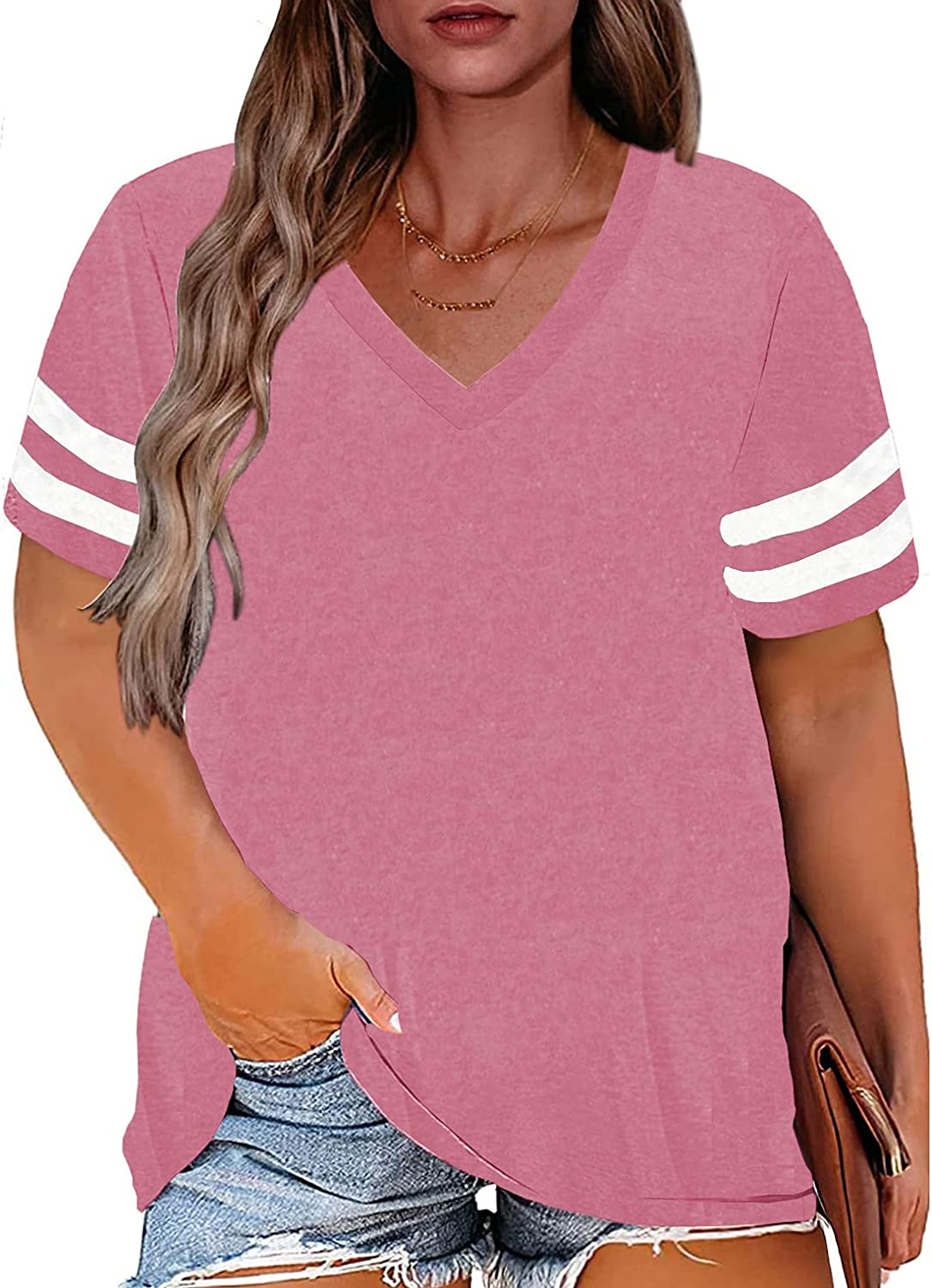 Ladies Plus Size Short Sleeve T Shirts Vintage Blouses Oversized Tunic Tops for Women Shirts Pink S2 1X