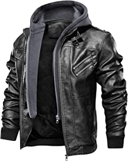 FEDTOSING Men's Faux Leather Jacket Retro Zip-UP Motorcycle Jackets with Removable Hood