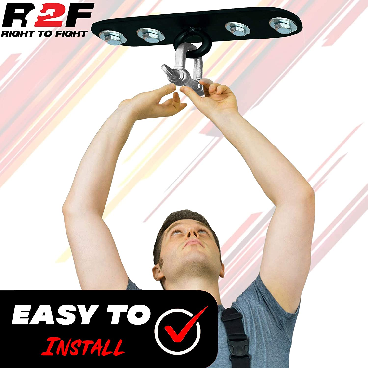 R2F Punch Bag 10 Iron Ceiling Hook /& Chain Fitness Boxing Hanging Mount Steel D-Shackle Swivel Indoor Gym Punching Bag Holding Hanger Set MMA UFC