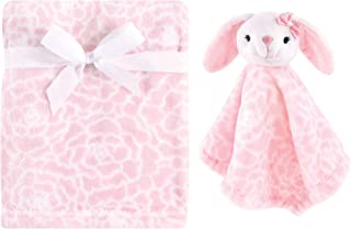 Hudson Baby Unisex Baby Plush Blanket with Security Blanket, Pink Bunny 2 Piece, One Size