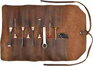 Rustic Leather Small Tool Roll Handmade by Hide & Drink :: Bourbon Brown