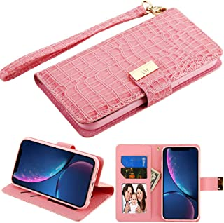 PU Leather Purse Clutch Case Fits Apple iPhone XR / 9 MYBAT Pink Crocodile-Embossed MyJacket Wallet