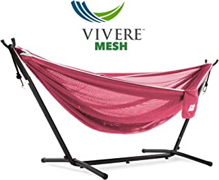 Vivere Rose/Celeste Mesh Double Hammock with Space Saving Steel Stand
