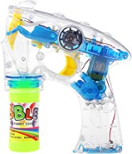 TOYMYTOY Bubble Gun Blower Machine Blaster Electric Bubble Shooter Gun with Flashing Lights and Music (Blue)