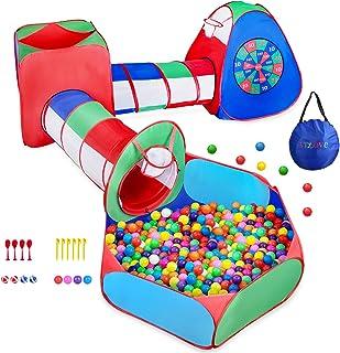 Goutte de Pluie YOOBE Tunnel d/'Exploration pour Tente de Jeu pour Enfants et Fosse pour balles avec pavillon de Basket pour Enfant en Bas /âge