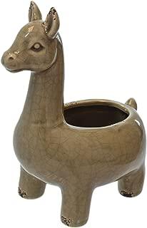 Brown Distressed Rustic Crackle Ceramic Llama Shaped Planter Flower Pot
