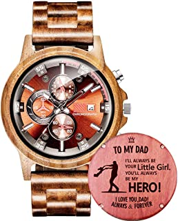 Customized Engraved Wooden Watch, Casual Handmade Wood Watch for Men Women Husband Wife Dad Mom Son Family