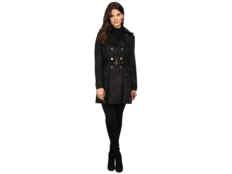 Jessica Simpson Sueded Rain Trench with Double Breasted Buttons (Black) Women